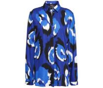 Printed Satin-twill Shirt Royal Blue