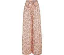 Elania Floral-print Linen Wide-leg Pants Pastel Orange
