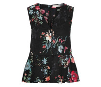 Floral-print Cotton-poplin Peplum Top Black