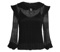 Ruffle-trimmed crepe, tulle and lace blouse