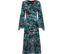 Printed Chiffon-paneled Silk-satin Dress Emerald