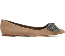Woman Crystal And Bow-embellished Suede Point-toe Flats Mushroom