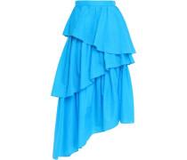 Asymmetric Tiered Shell Midi Skirt Light Blue