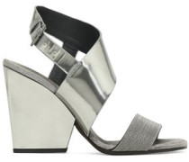 Bead-embellished mirrored-leather sandals