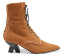 Lace-up Shearling-lined Suede Ankle Boots Camel