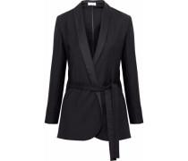 Belted twill blazer