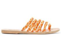 Braided Leather Sandals Beige