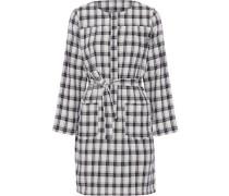 Checked cotton-blend mini dress