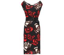Belted Floral-print Crepe Dress Black