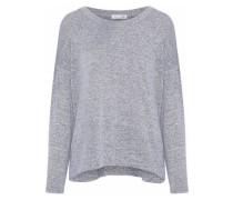 Marled Stretch-knit Sweater Light Gray