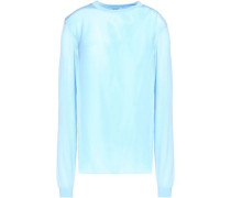 Silk georgette-paneled wool, cashmere and silk-blend sweater