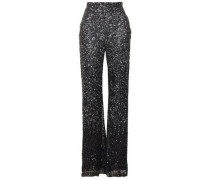 Sequined Tulle Flared Pants Midnight Blue