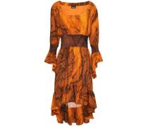 Asymmetric Smocked Snake-print Crepe Dress Orange