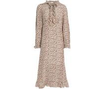Ruffle-trimmed floral-print silk crepe de chine midi dress