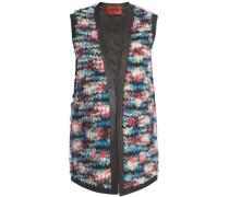 Leather-trimmed bouclé-knit vest