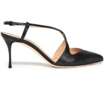 Bon Ton Textured Glossed-leather Slingback Pumps Black
