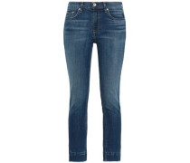 Cropped Faded Mid-rise Skinny Jeans Mid Denim  4