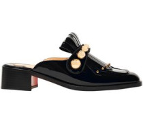 Octavian Studded Fringed Patent-leather Slippers Black