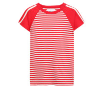Woman Striped Cotton-jersey T-shirt Red