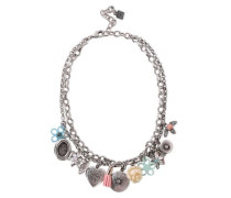 Amabella Burnished Silver-tone, Crystal And Resin Necklace Silver Size --