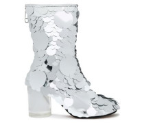Sequined metallic leather ankle boots