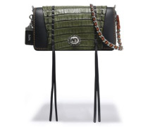 Crocodile-paneled leather shoulder bag