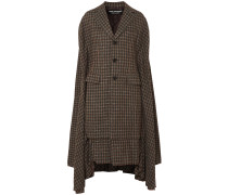 Woman Draped Wool-blend Tweed Coat Brown