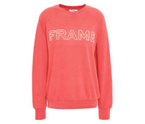 Embroidered French Cotton-terry Sweatshirt Coral