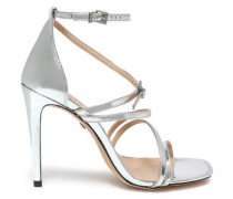 Metallic Leather Sandals Silver