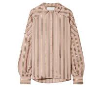 Volume oversized striped satin shirt
