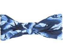 Knotted printed bandeau bikini top