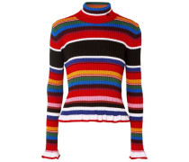 Striped Ribbed Wool-blend Turtleneck Sweater Multicolor