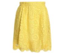 Cotton-blend corded lace mini skirt