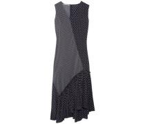 Asymmetric patchwork-effect printed silk midi dress