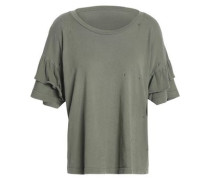 The Ruffle Roadie Cotton-jersey T-shirt Army Green