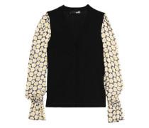 Floral-print chiffon-paneled knitted cardigan