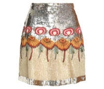 Embellished silk corded lace mini skirt