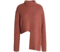 Asymmetric Ribbed Merino Wool-blend Sweater Brown