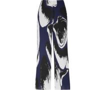 Claudia printed plissé-georgette wide-leg pants