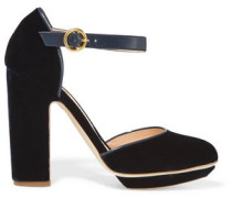 Leather-trimmed velvet platform pumps