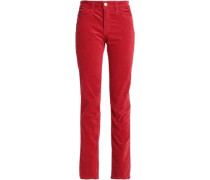 Velvet Straight-leg Pants Red  4