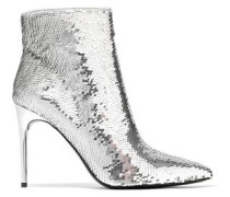 Woman Celyn Sequined Woven Ankle Boots Silver