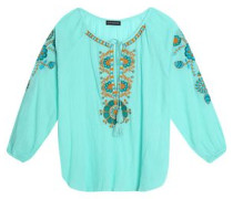 Tasseled embroidered cotton-gauze top