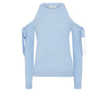 Bow-detailed Cold-shoulder Knitted Top Sky Blue