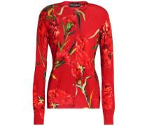 Floral-print wool cardigan