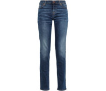 Faded Mid-rise Slim-leg Jeans Dark Denim