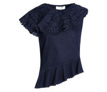 Broderie Anglaise-paneled Cotton Peplum Top Midnight Blue