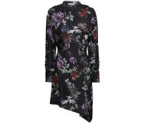 Woman Asymmetric Printed Silk-twill Mini Dress Black