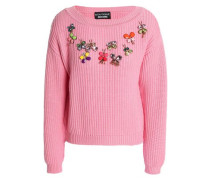 Appliquéd Ribbed-knit Wool Sweater Pink