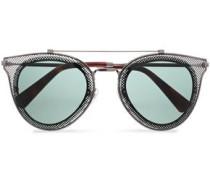 Aviator-style Laser-cut Gunmetal Tone Sunglasses Black Size --